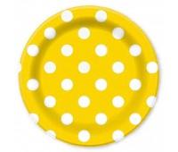 Тарелка желтая Горошек (6 шт.)